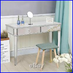 2 Drawer Mirrored Vanity Make-Up Desk Console Dressing Silver Glass Table Modern