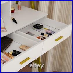 2 Drawer Vanity Set with Lighted Mirror Makeup Dressing Table with 9 Led Dimmable