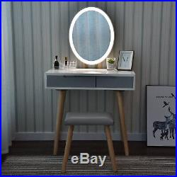 32 Dressing Makeup Vanity Table Stool Set Drawers With LED Mirror Touch Control