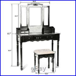 3 Mirrors 5 Drawers Vanity Makeup Table Wood Dressing Desk Set W Cushioned Stool
