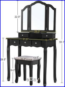 5 Drawer Storage Makeup Table Vanity Dressing Table Set With Stool Foldable Mirror