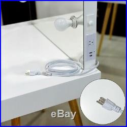 6 LED Lighted Vanity Table Set with Drawer and Mirror for Women Makeup Desk