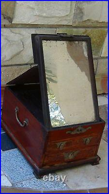 ANTIQUE CHINESE ROSEWOOD MAKE-UP VANITY FOLD-UP MIRROR JEWERLY BOX With2 DRAWERS