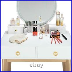 BedRoom Makeup Vanity Stool Set Dressing Table with 4 Drawers 3 Touch LED Colors