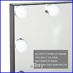 Black Hollywood Makeup Vanity Mirror with Light Stage Large Beauty Mirror New