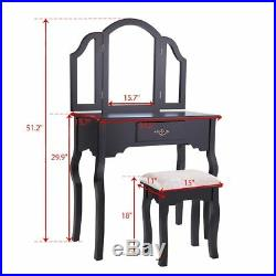 Black Vanity Makeup Table Set Dressing Jewelry Desk With Drawer