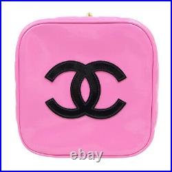 CHANEL Heart Mirror Cosmetic Vanity Hand Bag Purse Pink Patent 3351623 31616