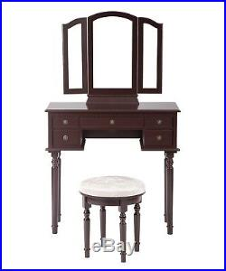 Cherry Makeup Vanity Table Set Tri-Folding Mirror Makeup Table With 5 Drawers 52