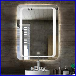 Fogless LED Bathroom Lighted Vanity Wall Mirror for Makeup w Dimmer Touch Button