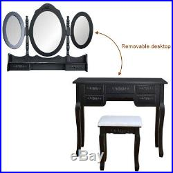 Foldable 3 Mirrors 7 Drawer Dressing Table Vanity Makeup Table Set With Stool