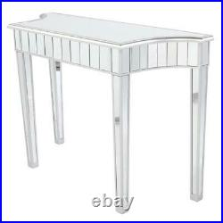 Glass Mirrored Console Table Mirrored Top Makeup Vanity Table Desk Livingroom