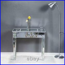 Glass Mirrored Vanity Makeup Dressing Table Set with Drawers withFlip-top Mirror