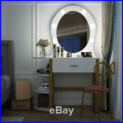 Gold & White Makeup Vanity Table with Lighted Round Mirror Drawer & Shelves Desk