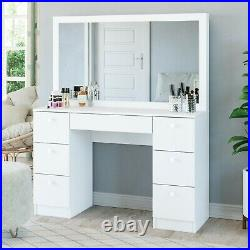 Gorgeous Modern Vanity Table with Mirror 7 Storage Drawers White Makeup Jewelry
