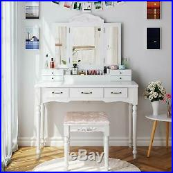 HOMECHO Makeup Vanity Table Set with Cushioned Stool Tri-Folding Mirror 7 Drawer