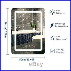 Home Bathroom Vanity LED Light Antifog Wall-Mount Makeup Mirror With Touch Button