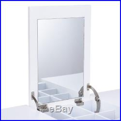 Home White Vanity Table Dressing Tables with Mirror N 2 Drawers Makeup Desk New
