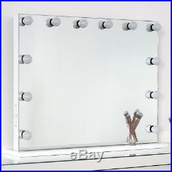 Large Frameless LED Hollywood Lighted Vanity Makeup Mirror with Lights Dimmer