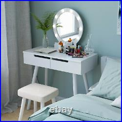 Makeup 2 Drawers Vanity Table Set with Lights Mirror 3-colored Dressing Desk