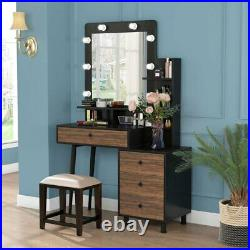 Makeup Dressing Table with Lighted Mirror Vanity Set with Drawer & 3-Drawer Chest