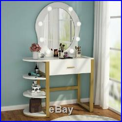 Makeup Table Vanity Mirror Set with Drawer Hollywood 8 Cool White Bulbs& Shelves