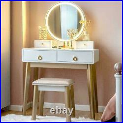 Makeup Vanity Jewelry Dressing Table Set Led Round Mirror Stool Desk with Drawer