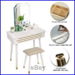 Makeup Vanity Jewelry Dressing Table Set Led Square Mirror Stool Desk with Drawer
