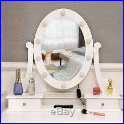 Makeup Vanity Table Set with 10 Lights Mirror and 5 Drawers Dressing Desk Goa US