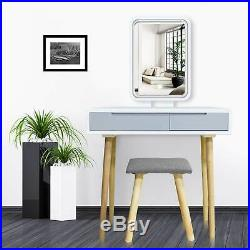 Makeup Vanity Table Set with Lighted Mirror & 2 Drawers & Stool Dressing Desk
