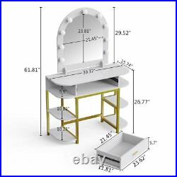 Makeup Vanity Table Set with Lighted Mirror and Shelves Spacious Desktop& Drawer