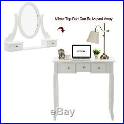 Makeup Vanity Table Stool Gift Makeup Organizer with Oval Mirror 5 Drawers White