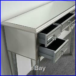 Mirrored Vanity Table Silver Finish Living Room Accent Bedroom Makeup Table