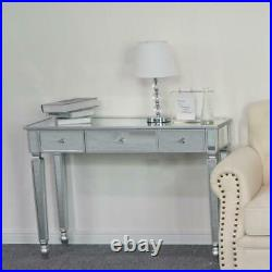 Modern Console Table Mirrored Vanity Table Makeup Desk Silver with 3 Drawers