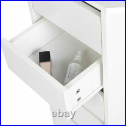 Modern Corner Makeup Desk Vanity Dressing Table with 3 Fold Mirrors & 5 Drawers