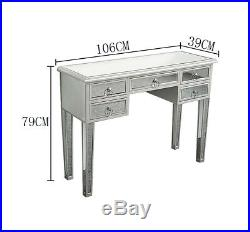 Modern Mirrored Desk Home Console Table Bedroom Vanity Make-up Table with 5 Drawer