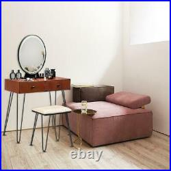 New Makeup Vanity Table Set with Stool Oval Mirror 3 Touch LED Light 2 Drawers US