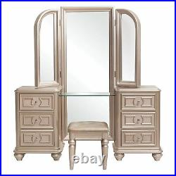 Samuel Lawrence Dynasty Gold Silver Metallic Vanity Makeup Stool Trifold Mirror