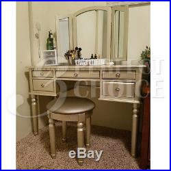 Silver Tri Folding Mirror Vanity Set Makeup Table Dresser with Bench 5 Drawer Wood