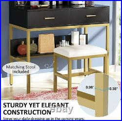 Tribesigns Dressing Table, Lighted Mirror Makeup Vanity Table with Drawers & Stool