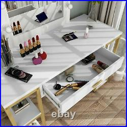 Tribesigns Lighted Makeup Vanity Mirror Set Dressing Table with Drawer and Shelf