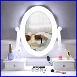 US Stock Makeup Vanity Table Set with 10 Light Mirror and 4 Drawers White