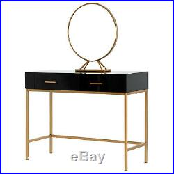 Vanity Makeup Dressing Table Set with2 Drawers Stool Removable Mirror Black & Gold