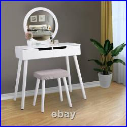 Vanity Makeup Dressing Table Set with Stool 2 Drawers Round Mirror Bedroom White