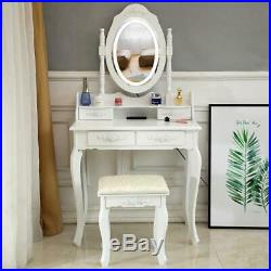 Vanity Makeup Table Set with 10LED Lighted Mirror Bedroom Dressing Table White