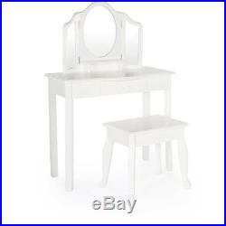 Vanity Set For Girls Kids Table And Stool Jewelry Makeup Storage Drawer White