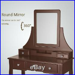 Vanity Set Make-up Dressing Table w Removable Desk Mirror Cushioned Stool Brown