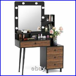 Vanity Set Makeup Dressing Desk Table Dresser with Lighted Mirror and Drawers US