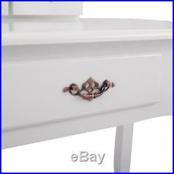 Vanity Set Makeup Dressing Tables with 3 Mirrors Drawer and Stool Woman Girl Gift