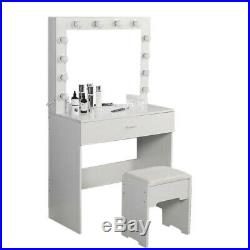 Vanity Set with12 Lights Mirror Cushioned Stool Dressing Table Vanity Makeup Table