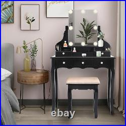 Vanity Set with Dimmer LED Bulbs, Makeup Table with Frameless Hollywood Mirror